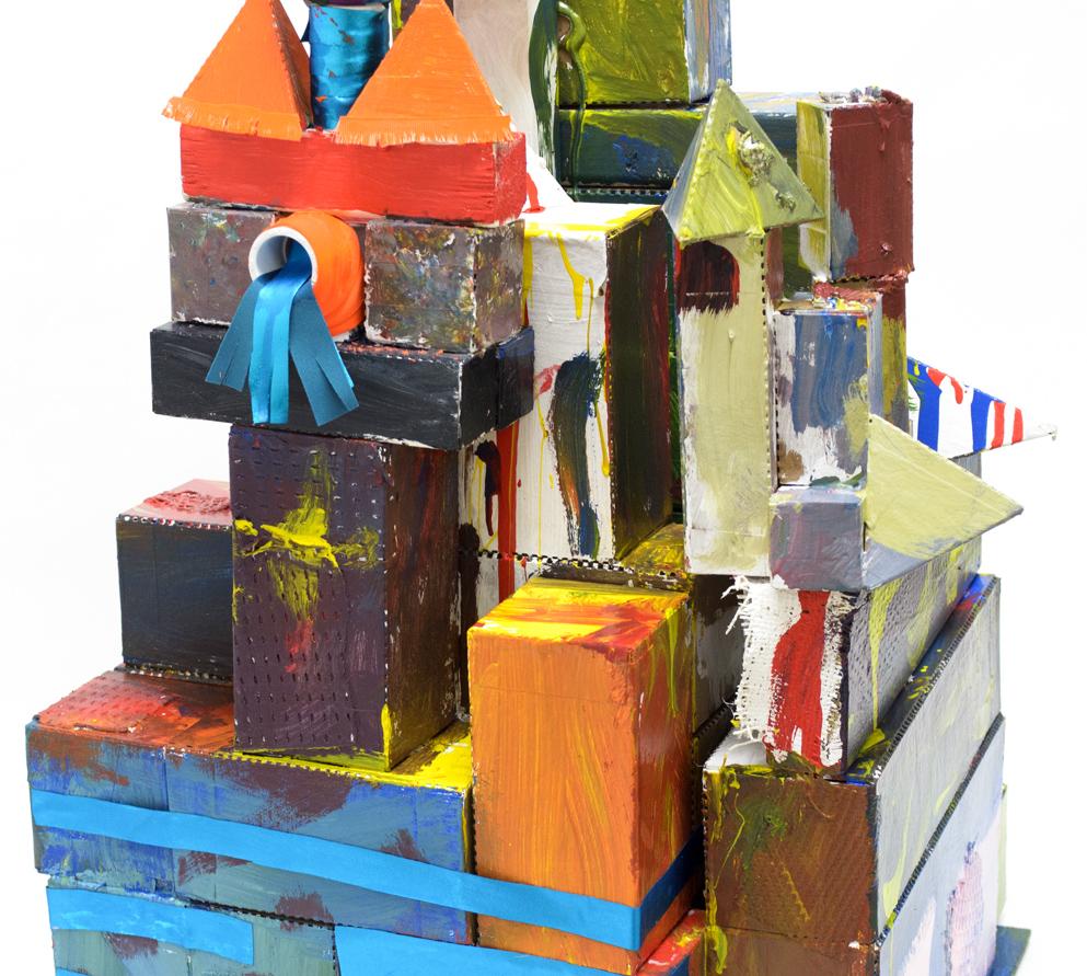 Judy Asay, Evelyn Hopkins, Jill Preiser, Emil Savarese, Helen Siffring, Marianne Mitchell, Gladys Boston, Frank Santa Cruz Apple Green Pink Fusion of Colors (detail)